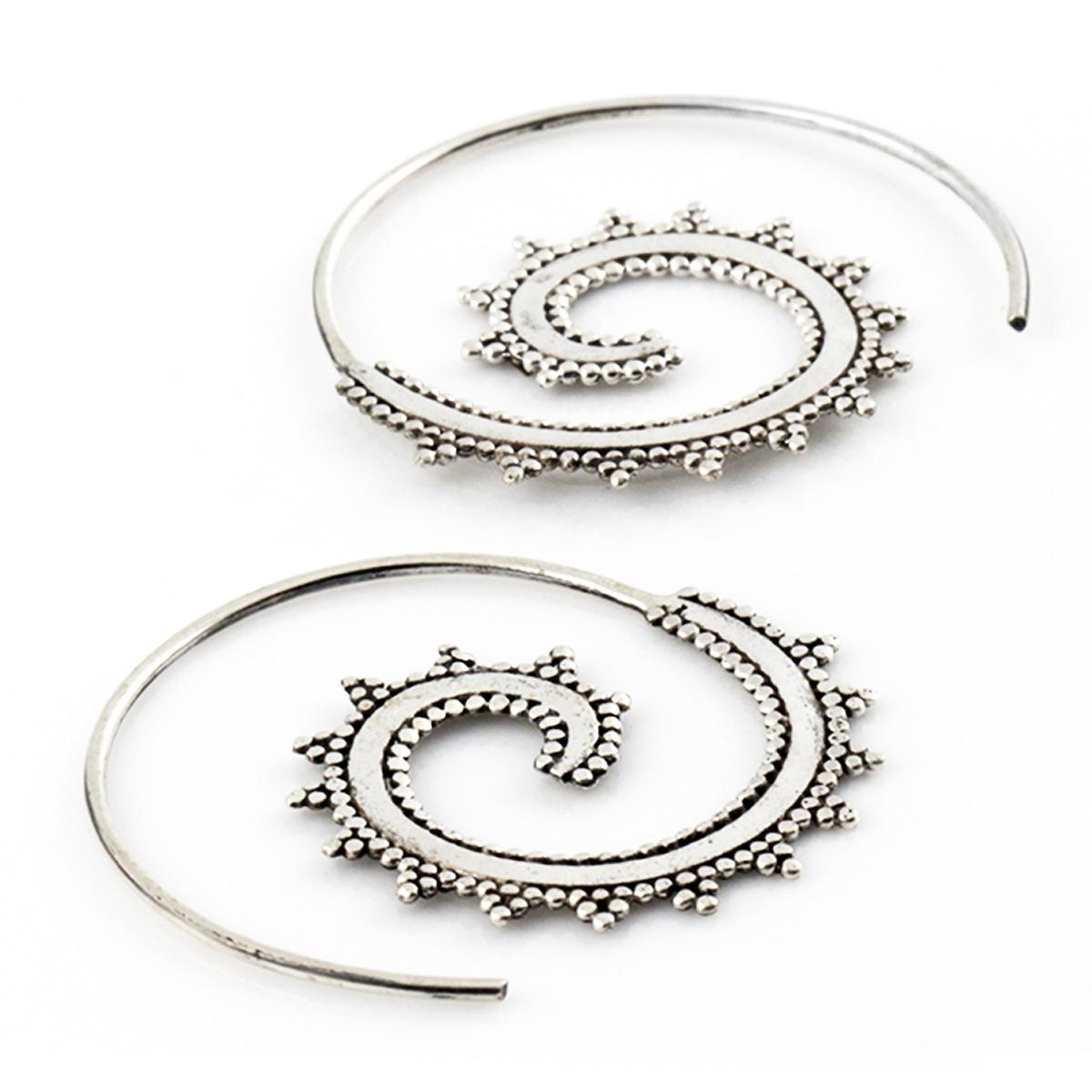 Boucles argent artisanales \'Cléopatra\' argenté vieilli (escargot) - 30 mm - [Q7553]