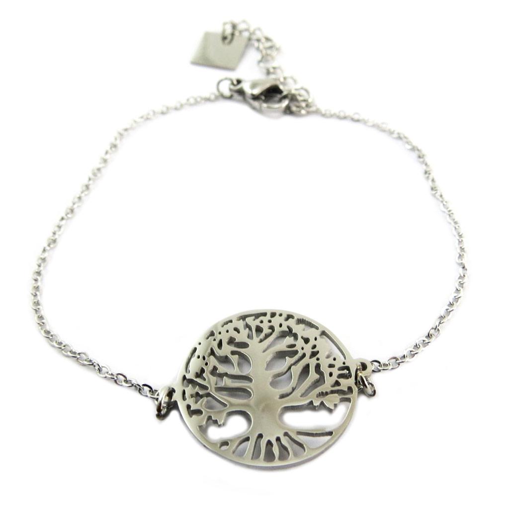 Bracelet acier \'Arbre de Vie\' argenté - 16 mm - [P7715]