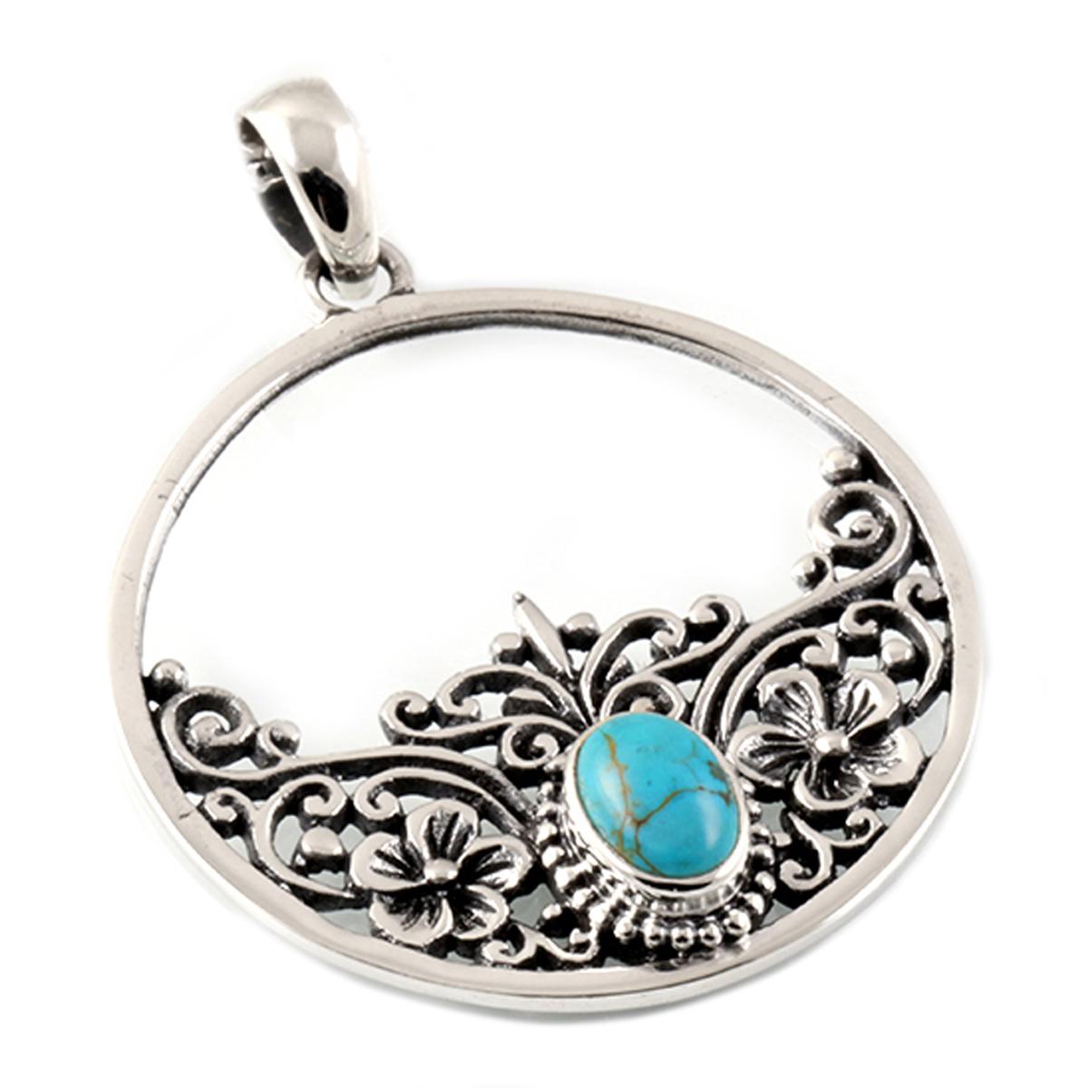 Pendentif Argent artisanal \'Heaven\' turquoise argenté vieilli - 30x30 mm - [Q7560]