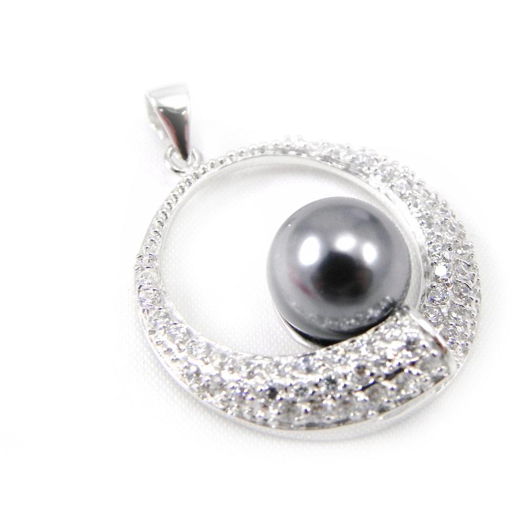 Pendentif Argent \'Pearl Beauty\' Gris - [G9374]