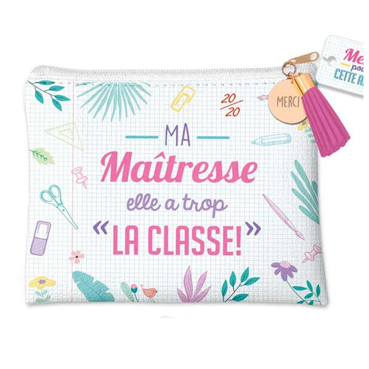 Pochette plate \'Ma Maîtresse elle a trop la classe !\' 20/20 - 22x18 cm - [R1603]