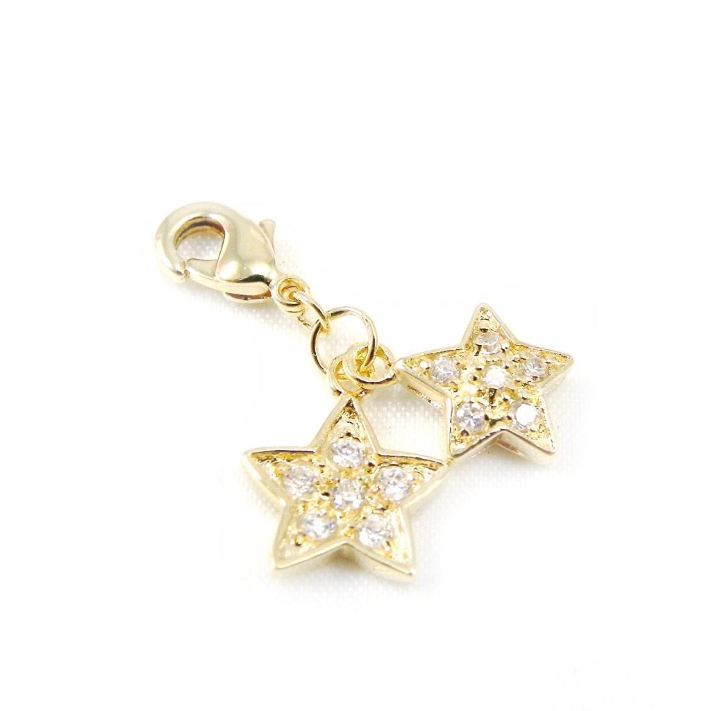 Pendentif Charm \'Pretty Star\' plaqué or - [G9378]