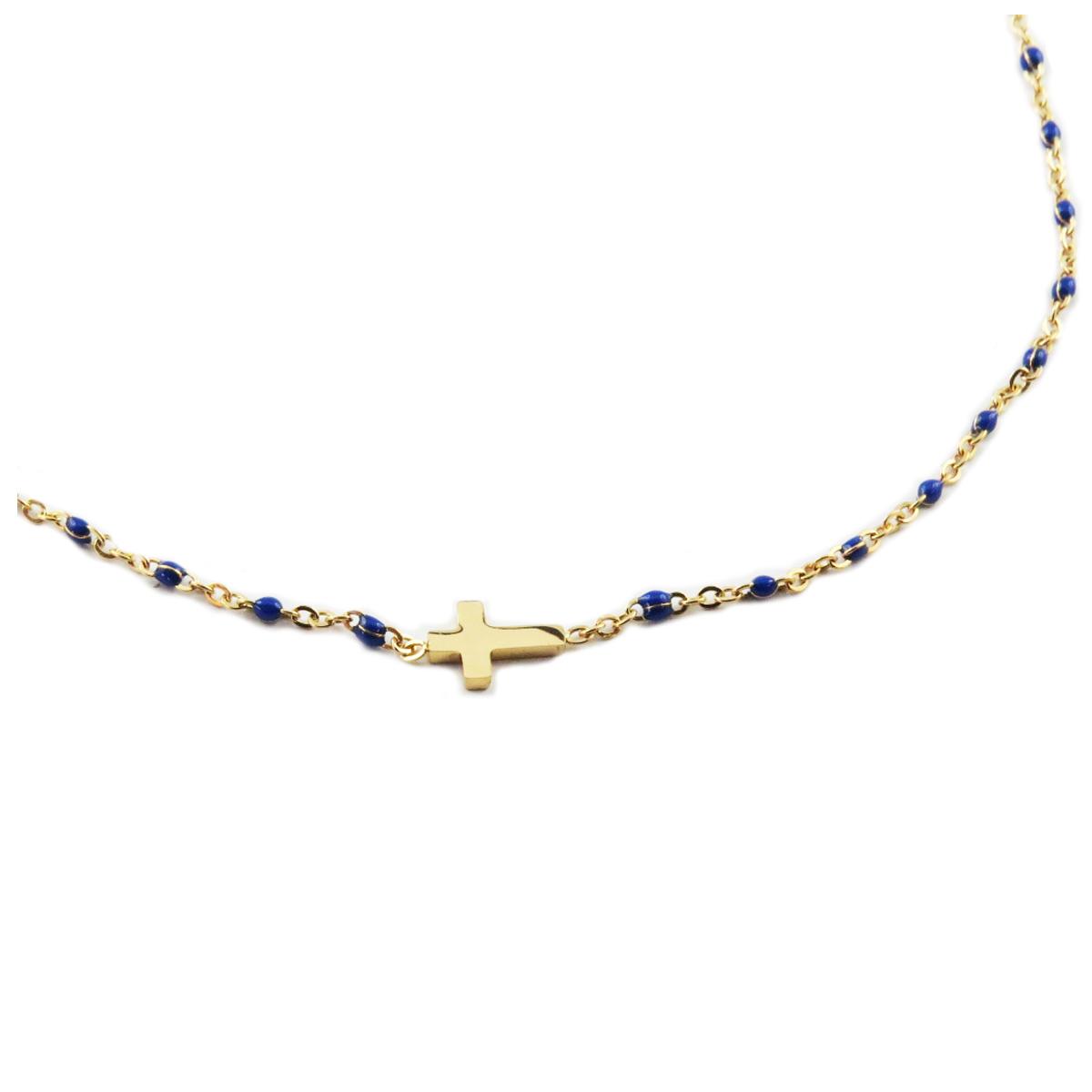 Collier créateur acier \'Croix\' bleu doré - 10x5 mm - [R0226]