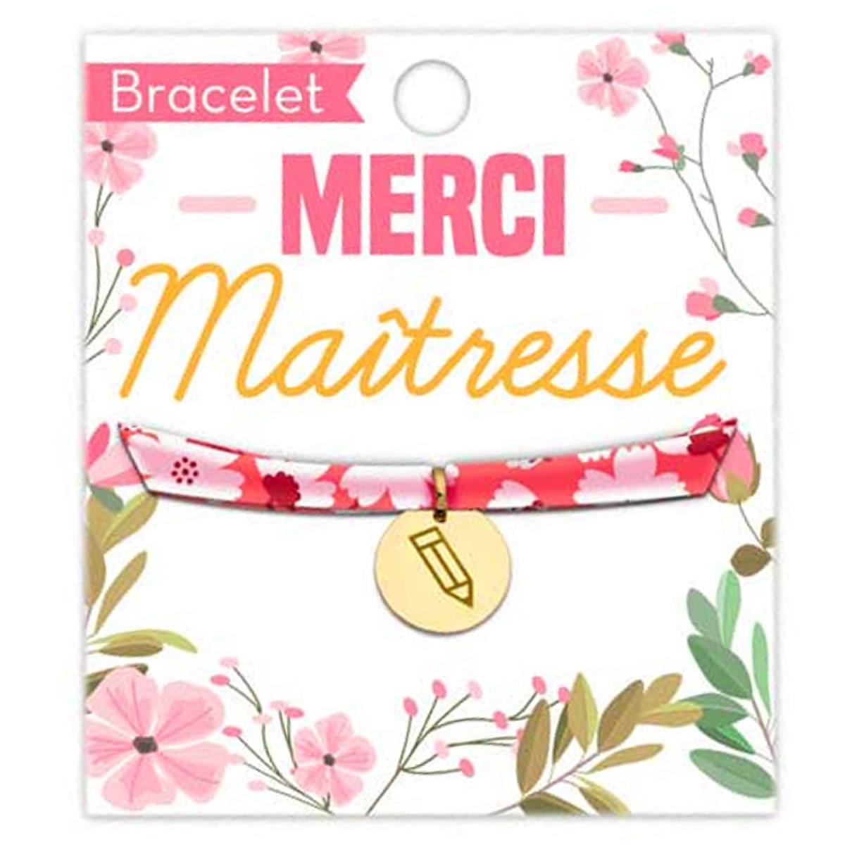 Bracelet \'Merci Maîtresse\' rose doré - 16 mm - [R1605]