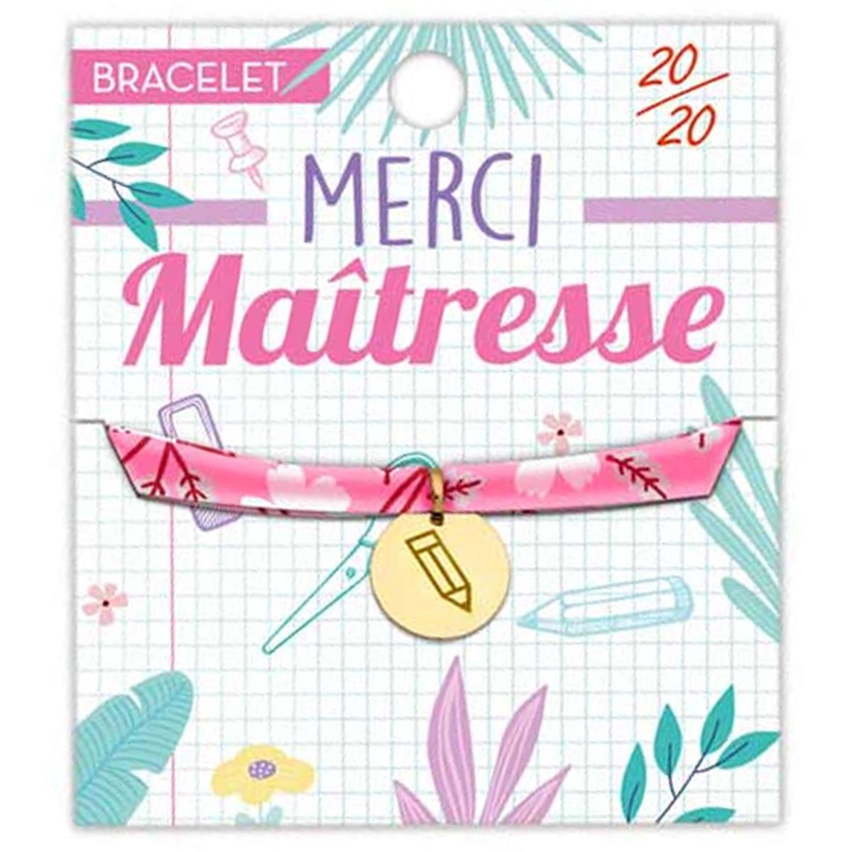 Bracelet \'Merci Maîtresse\' (20/20) rose doré - 16 mm - [R1606]