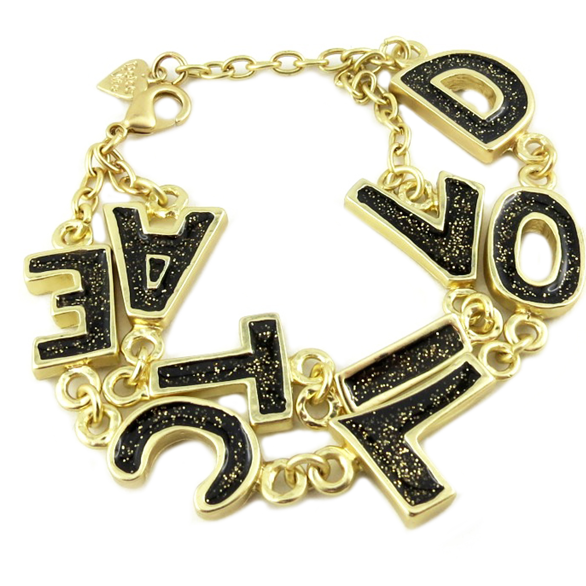 Bracelet Créateur \'Dolce Vita\' noir doré - 2 rangs - [P9606]