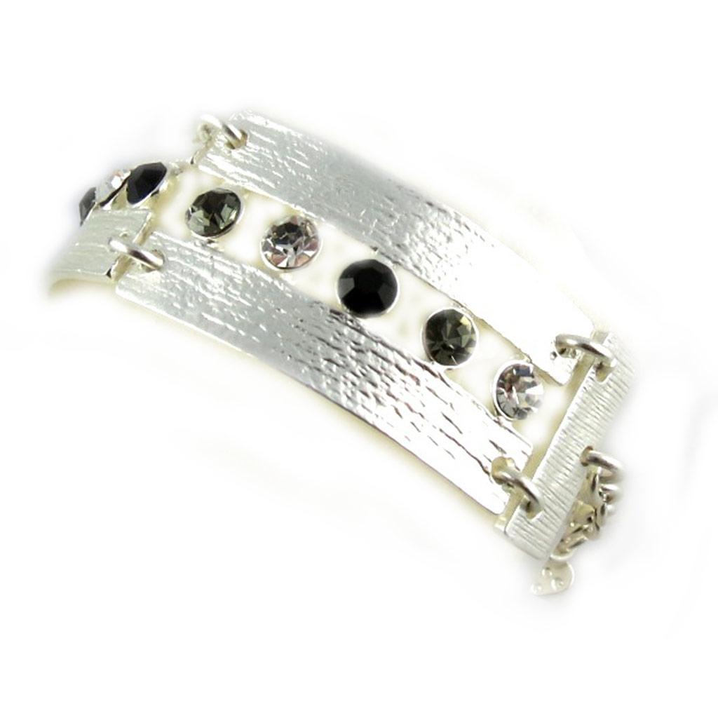 Bracelet Créateur \'Illuminations\' Noir Argenté - [F4035]
