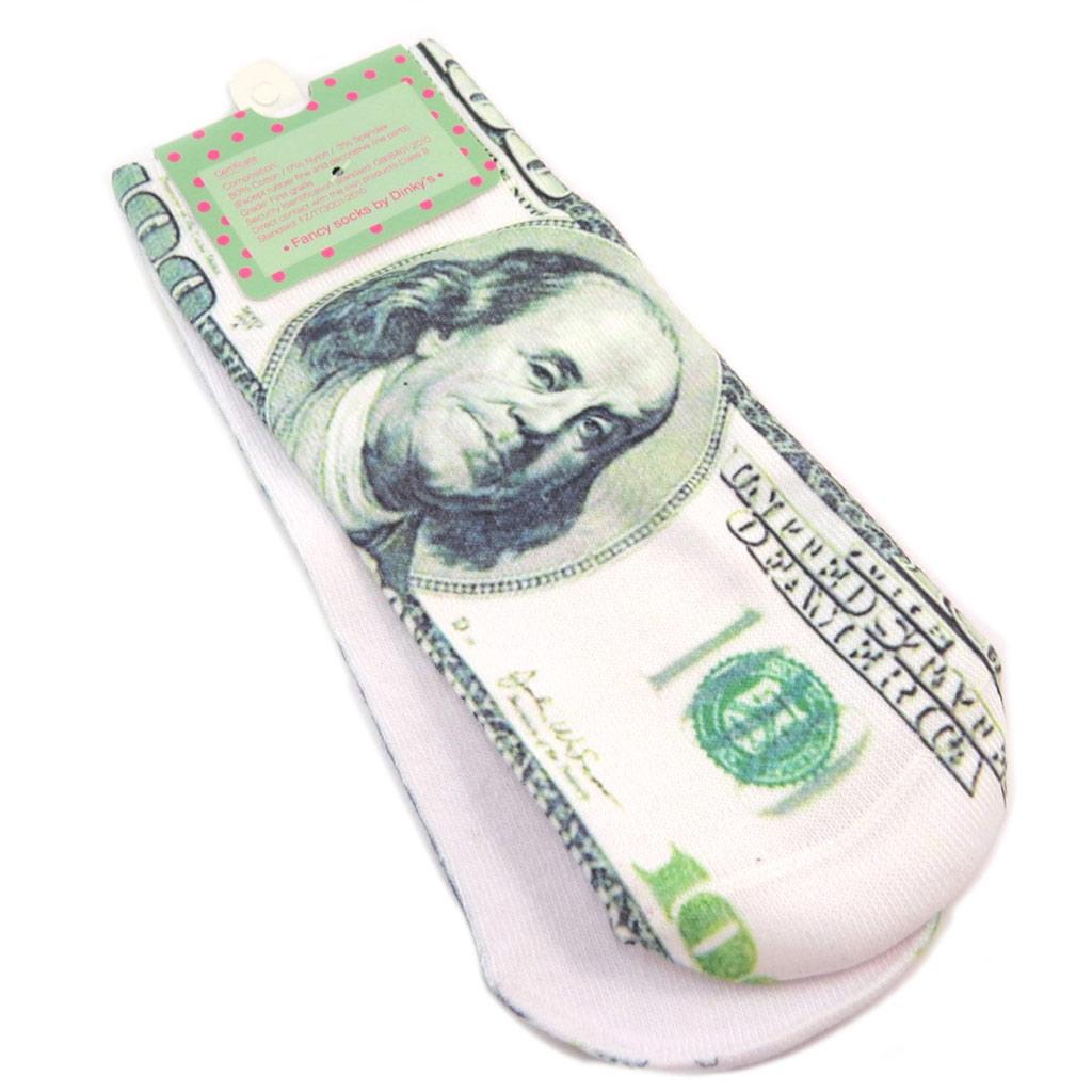 Chaussettes humoristiques \'100 dollars\' blanc noir - [P3114]