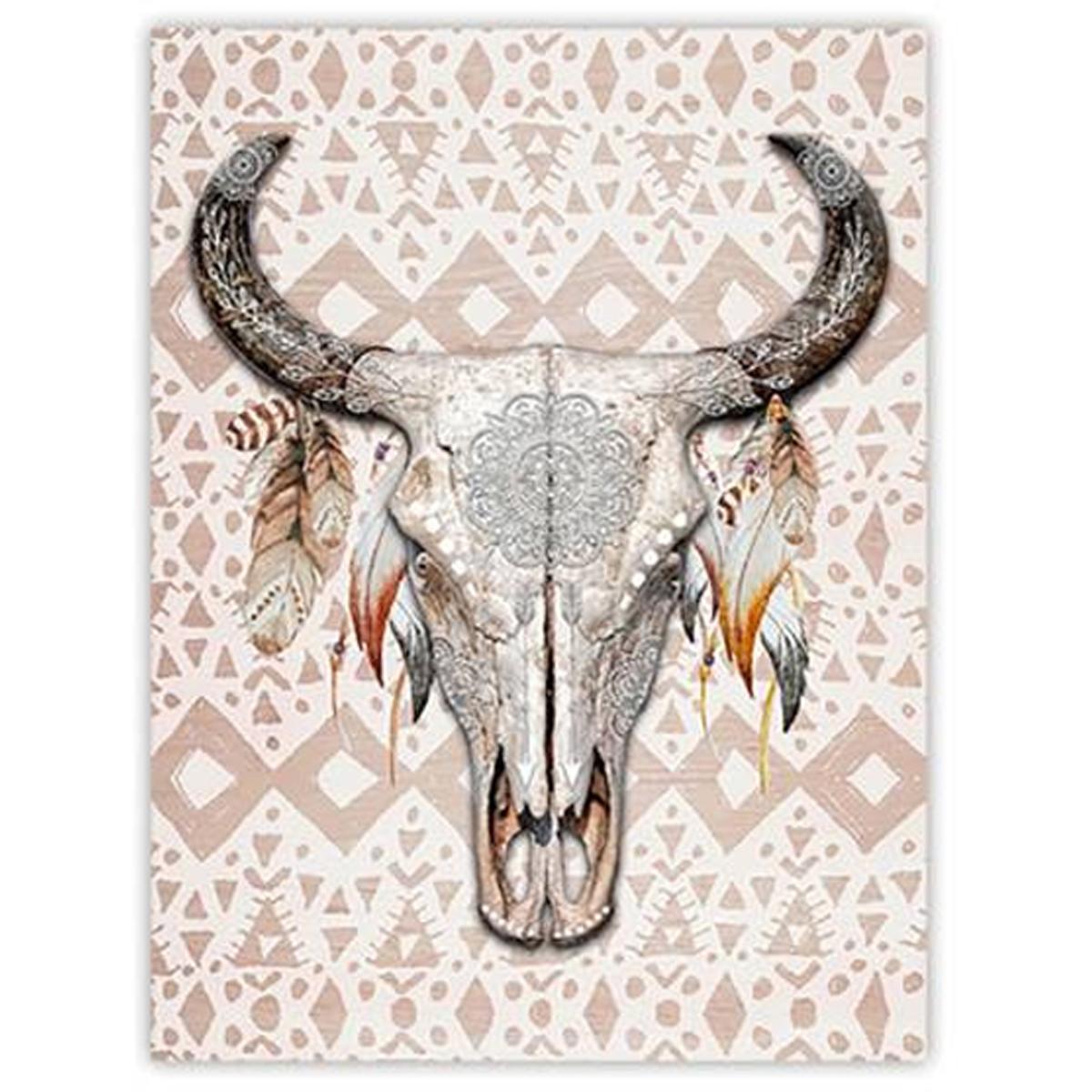 Toile \'Boho\' gris multicolore (Crâne de bison) - 40x30 cm - [P3121]