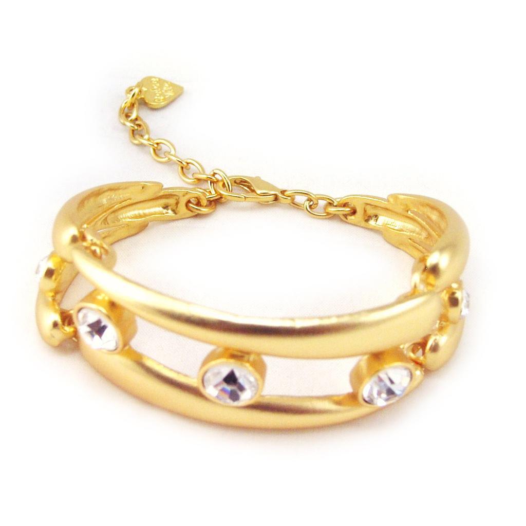 Bracelet Créateur \'Illuminations\' Blanc Doré - [F4127]