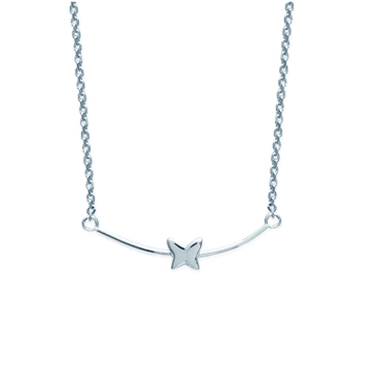 Collier Argent \'Papillon\' argenté (rhodié) - 30x5 mm - [K3739]
