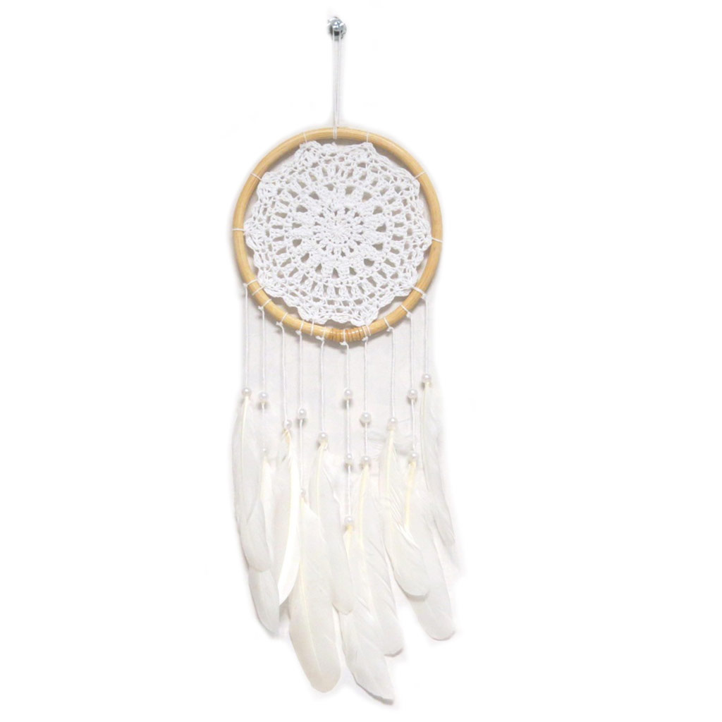 Attrape-rêves \'Navajos\' blanc beige - 48x15 cm - [P3130]