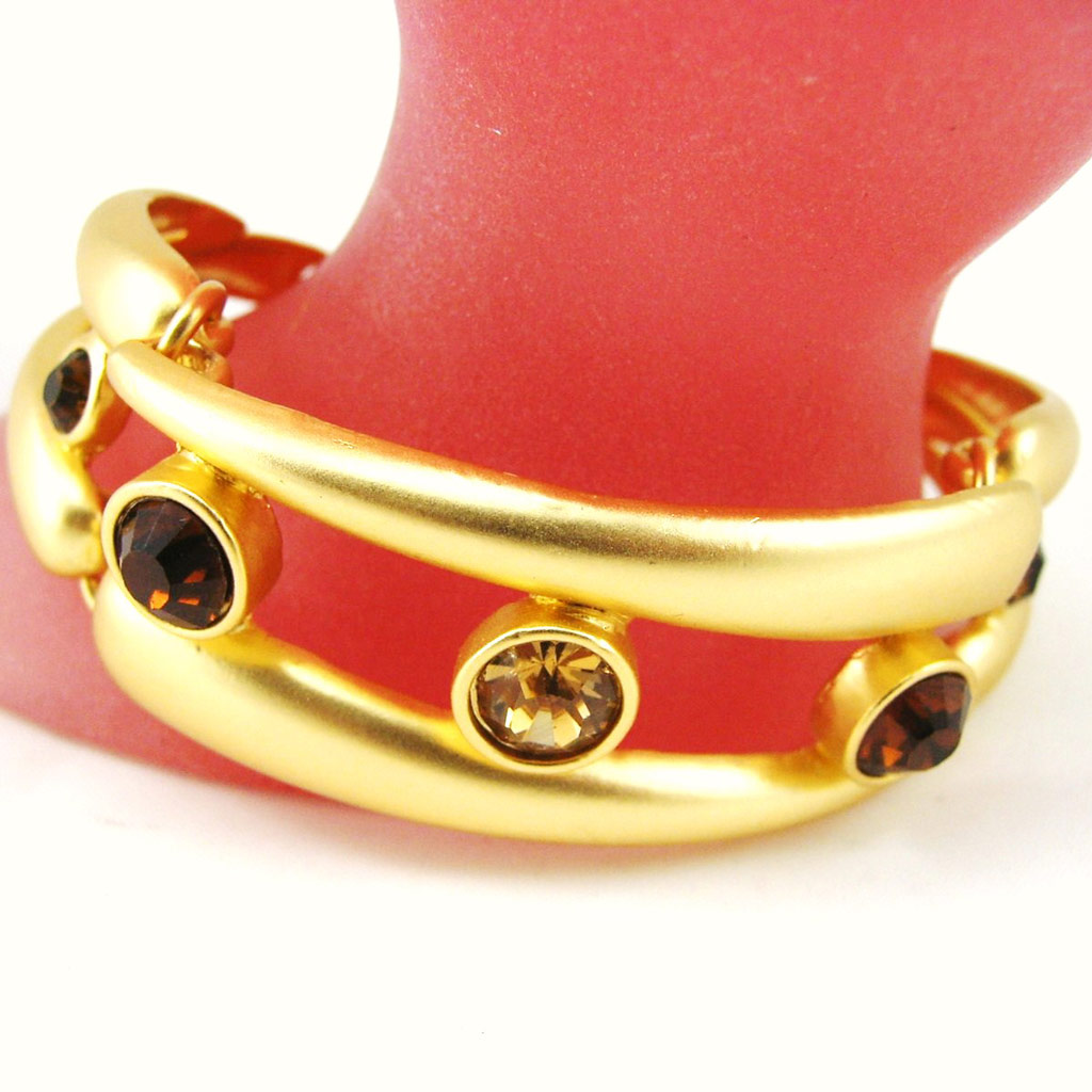 Bracelet Créateur \'Illuminations\' Marron Doré - [F4158]
