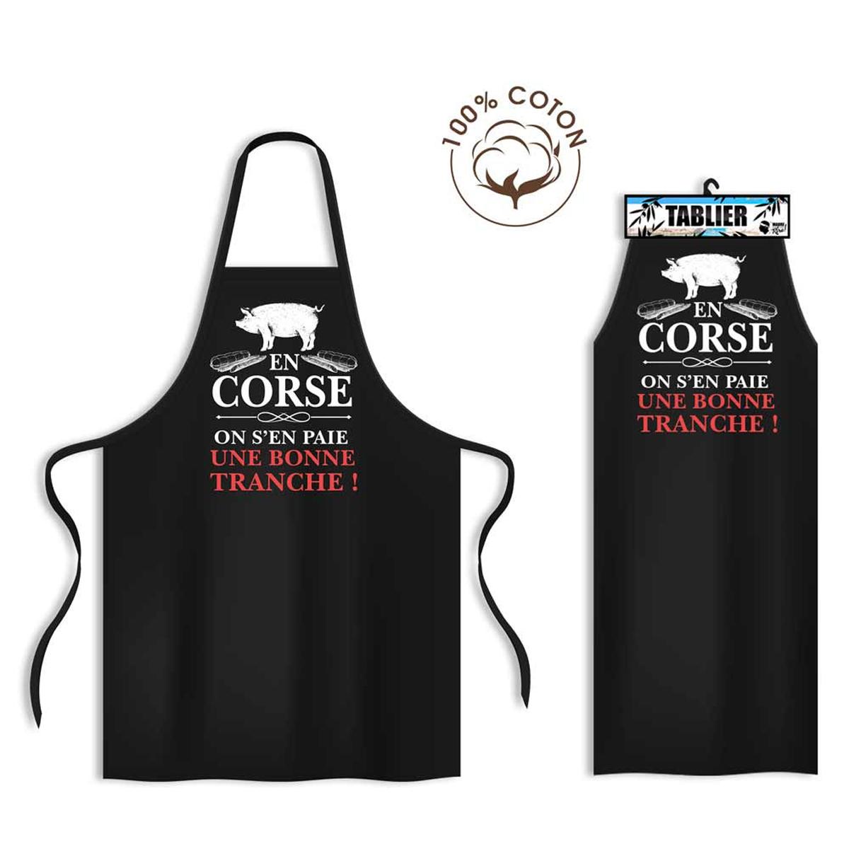Tablier coton \'Corse\' noir (En Corse, on s\'en paie une bonne tranche !) - 80x70 cm - [R1632]