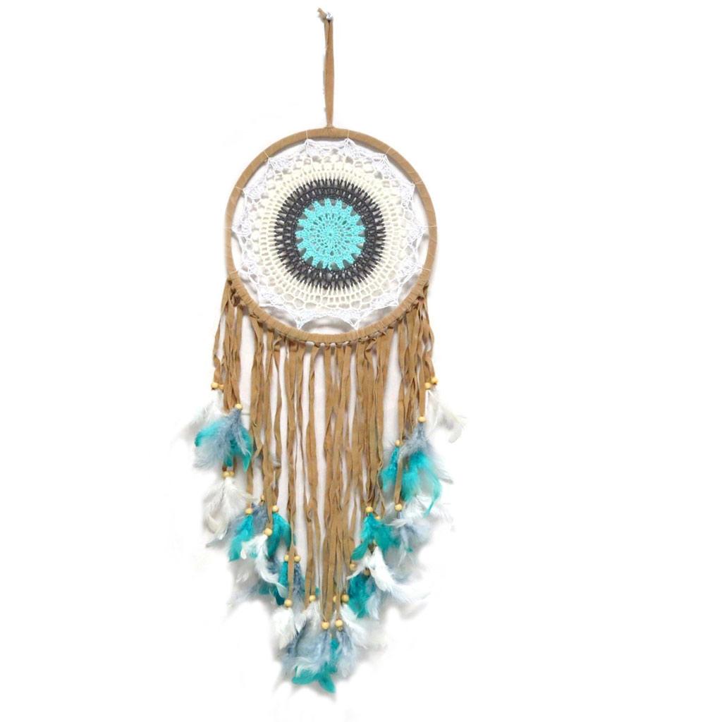Attrape-rêves \'Navajos\' marron turquoise - 90x32 cm - [P3133]