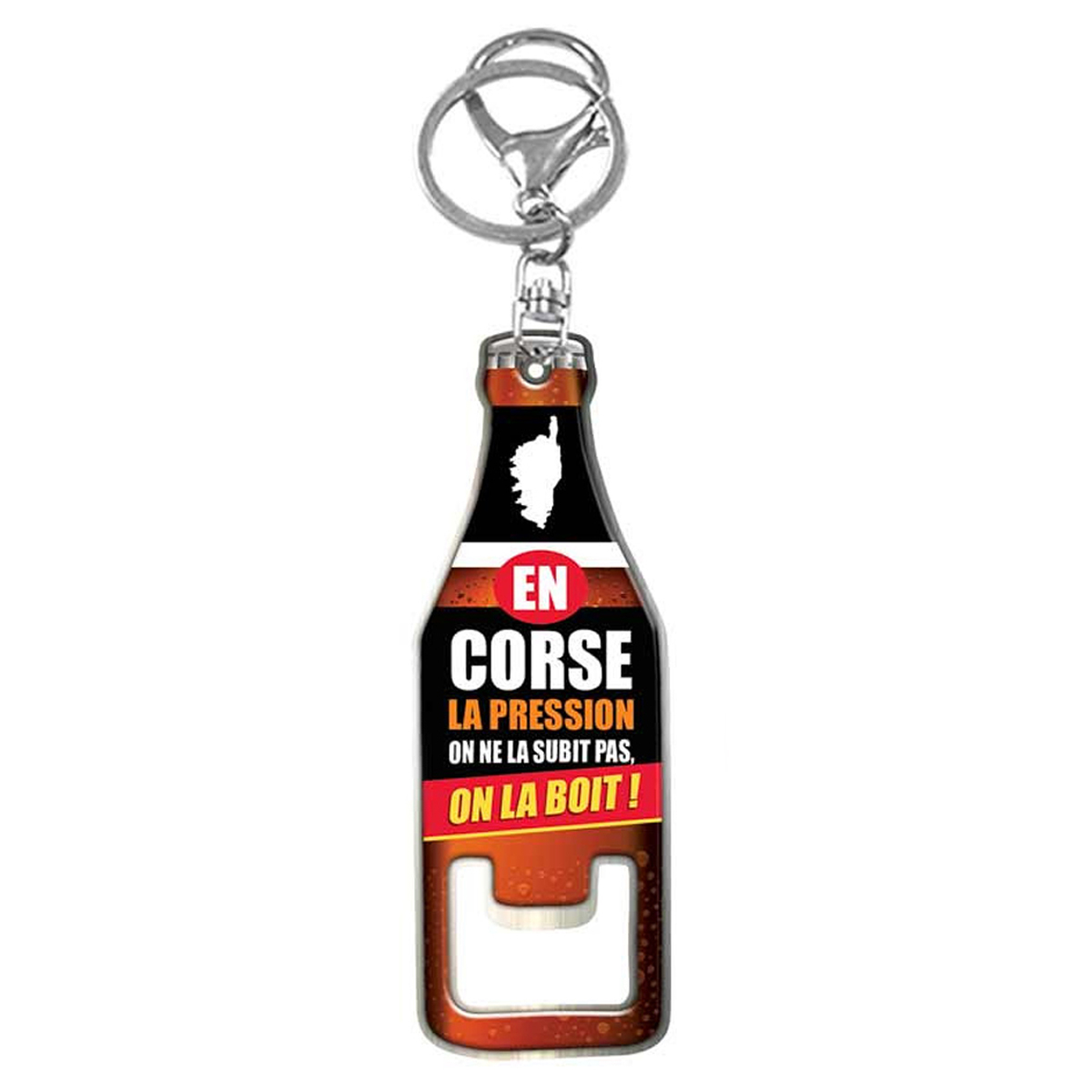 Porte-Clés décapsuleur \'Corse\' marron (En Corse, la pression, on ne la subit pas, on la boit !) - 85x28 mm - [R1635]