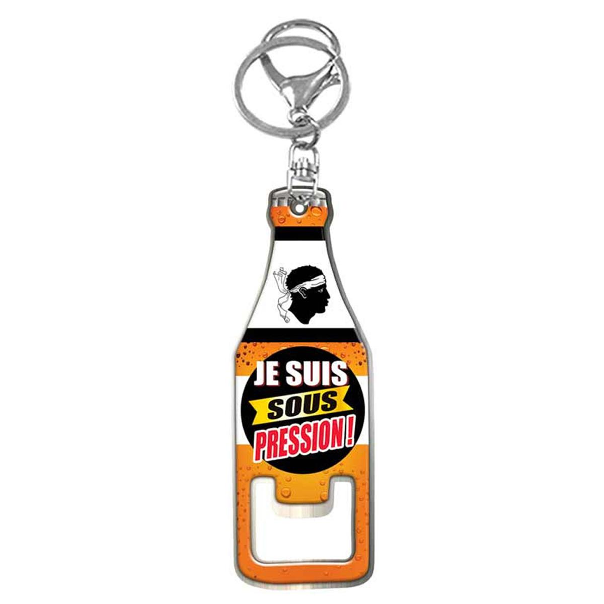 Porte-Clés décapsuleur \'Corse\' orange (Je suis sous pression !) - 85x28 mm - [R1637]