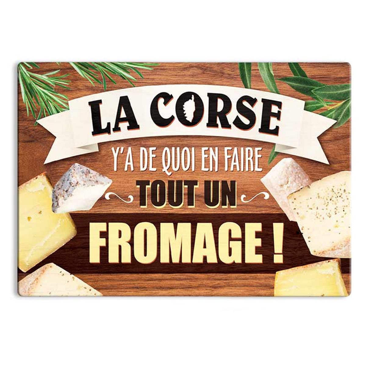 Planche à découpe / dessous de plat verre \'Corse\' (La Corse y\'a de quoi en faire tout un fromage !) - 30x20 cm - [R1639]