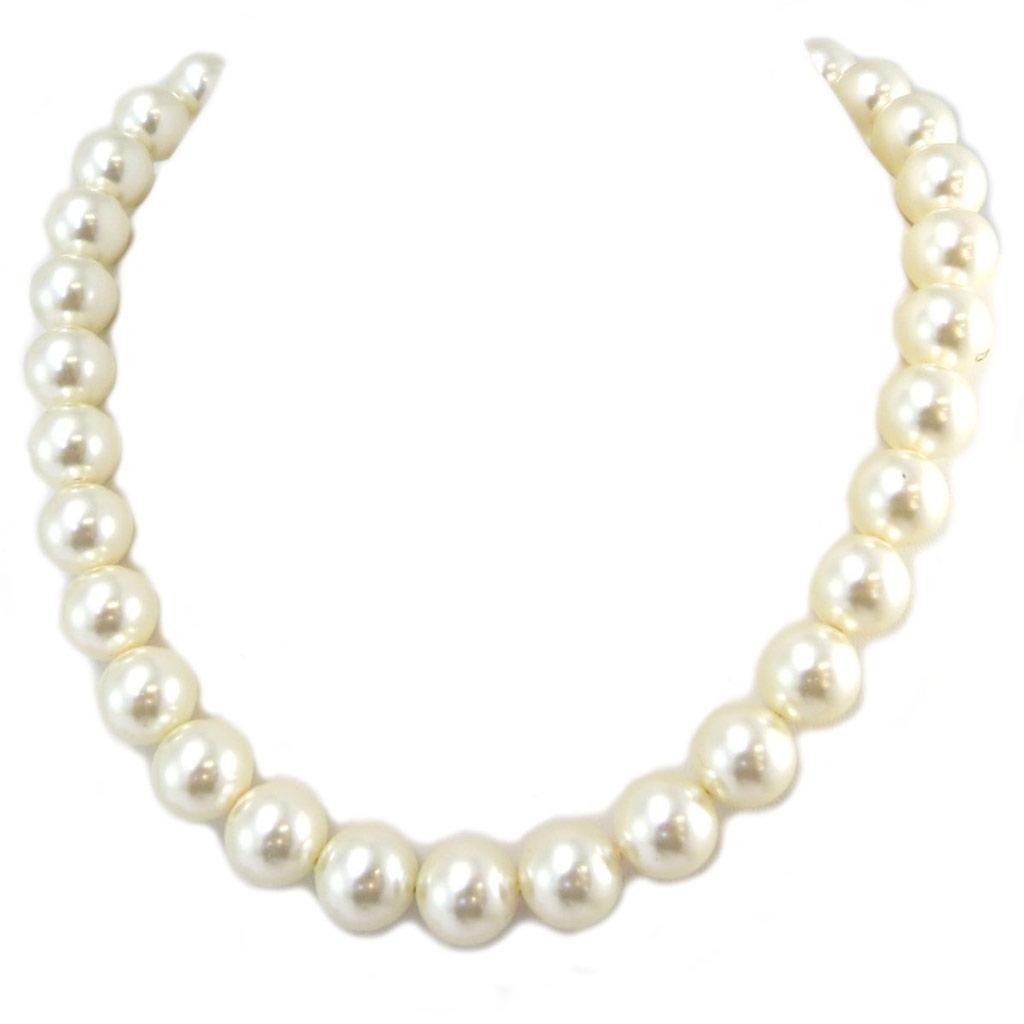 Collier artisanal \'Tsarine\' perles blanc ivoire argenté - 12 mm - [P4541]