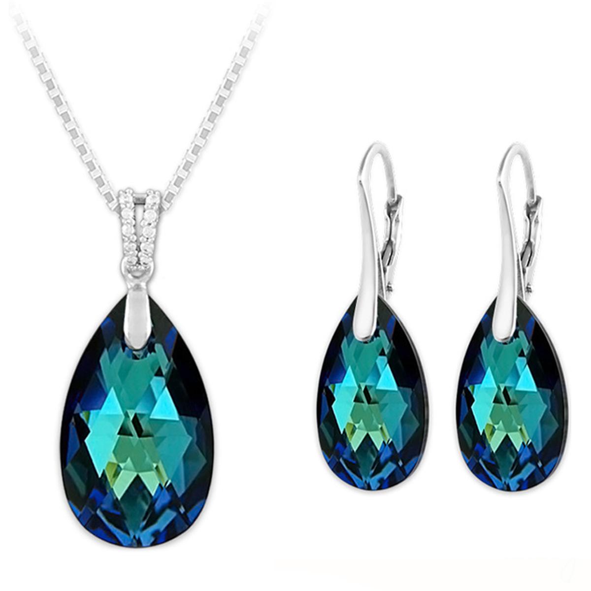 Parure argent artisanales \'Sissi\' bleu bermudes argenté (collier et boucles) - 15x9 mm - [Q4265]