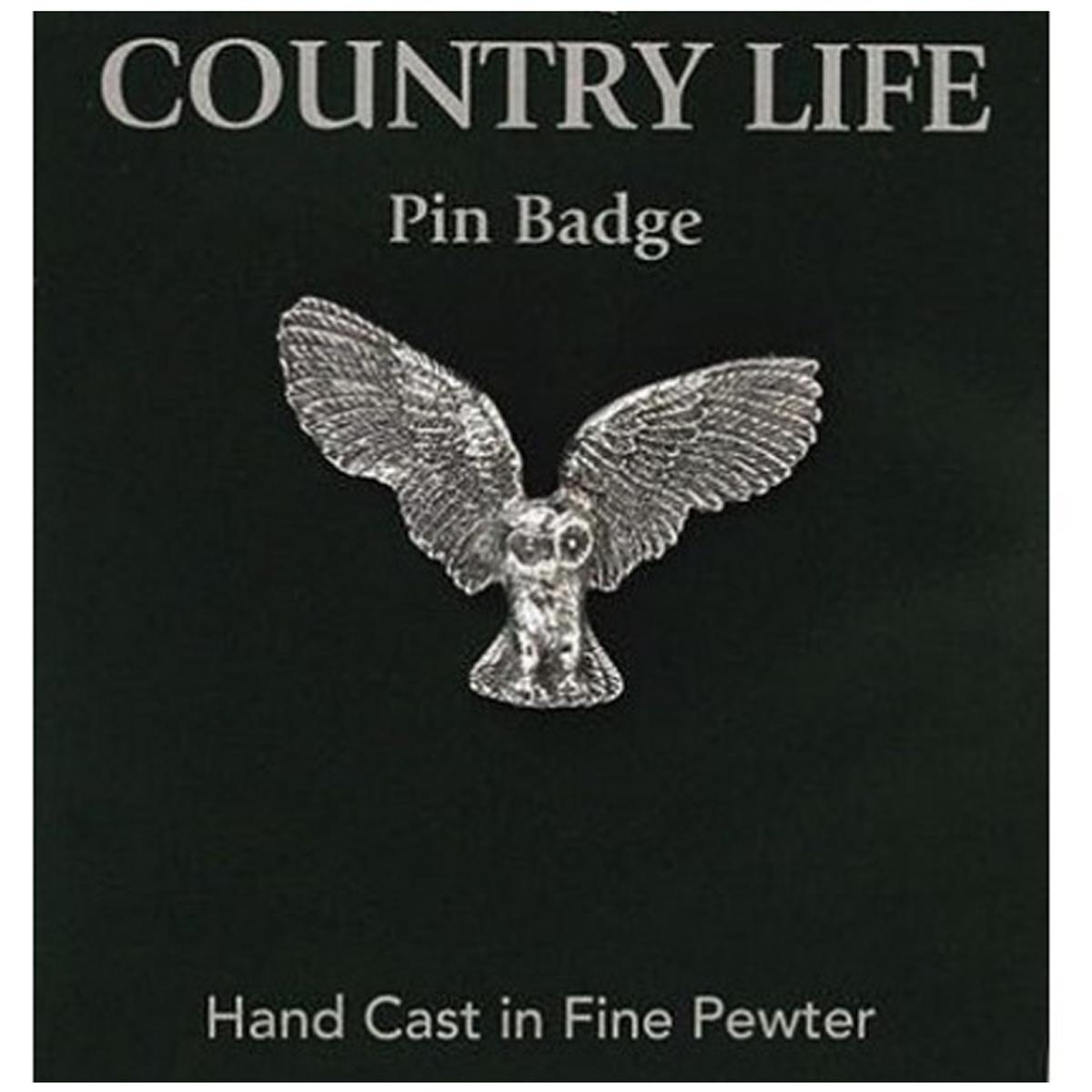 Broche pin\'s épinglette étain \'Country Life\' argenté vieilli (chouette) - 35x25 mm - [R2821]