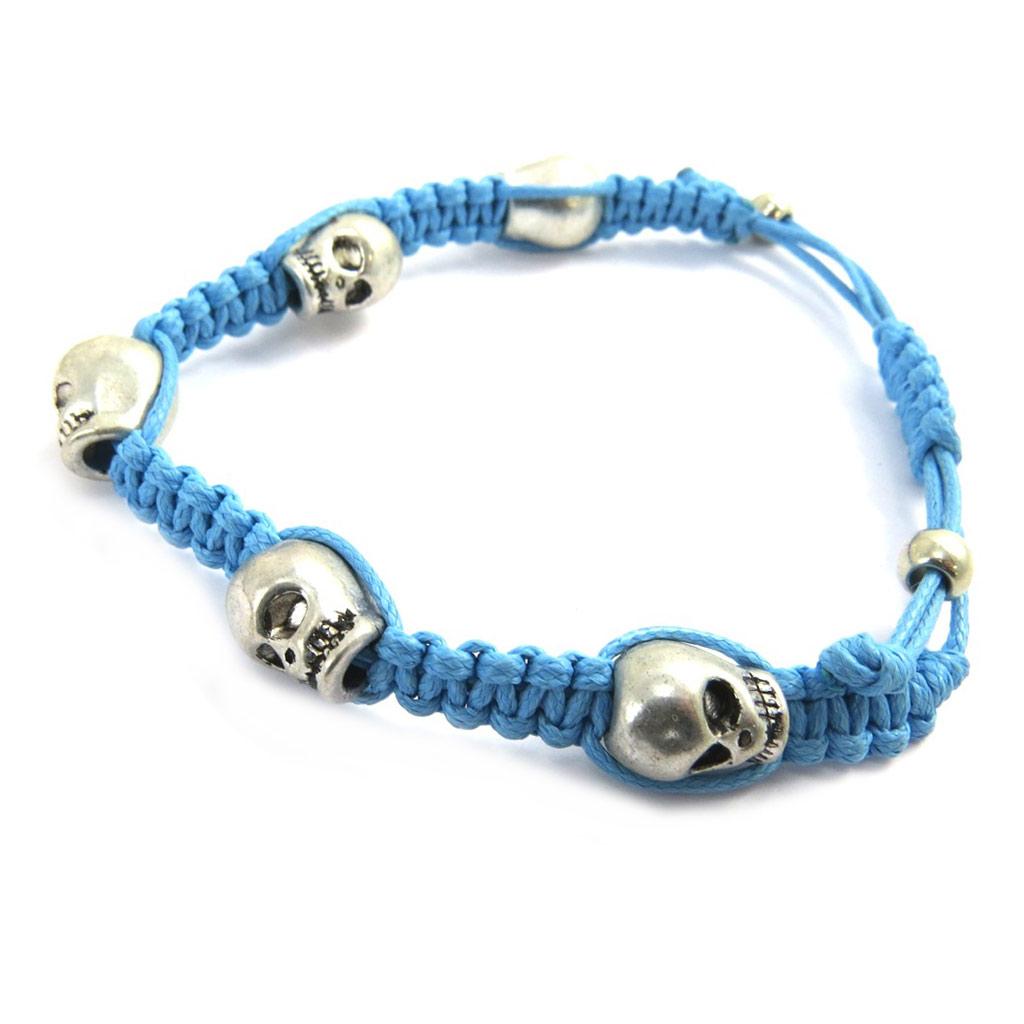 Bracelet créateur shambhala \'Tête de Mort\' turquoise - [M0705]