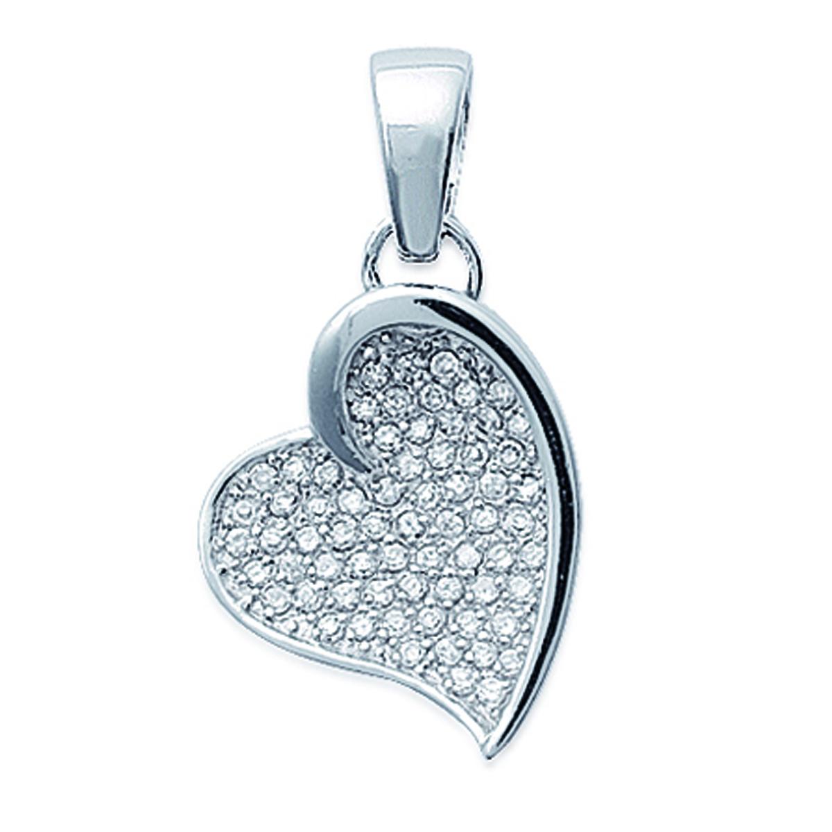 Pendentif Argent \'Love Diamonds\' Blanc argenté (rhodié) - 19x21 mm - [B9827]