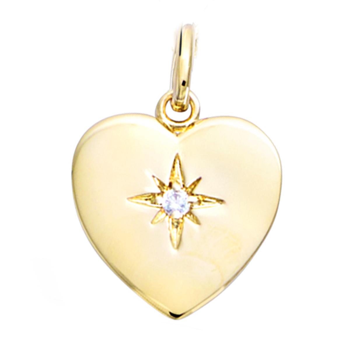 Pendentif Plaqué Or \'Love\' blanc doré (étoile du nord) - 15x15 mm - [Q7598]