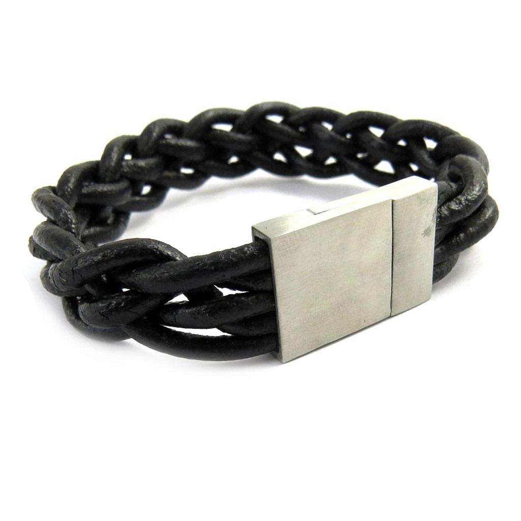Bracelet acier \'Peaceful\' cuir - [M0709]