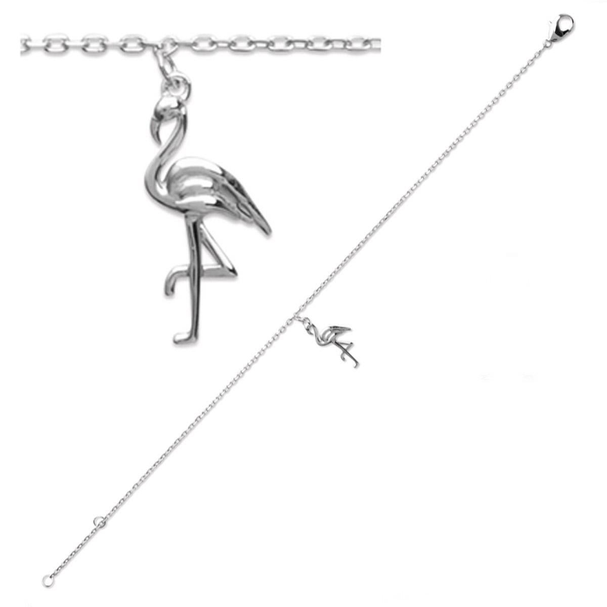 Bracelet Argent \'Flamant Rose\' argenté (rhodié) - 22x10 mm - [P9665]