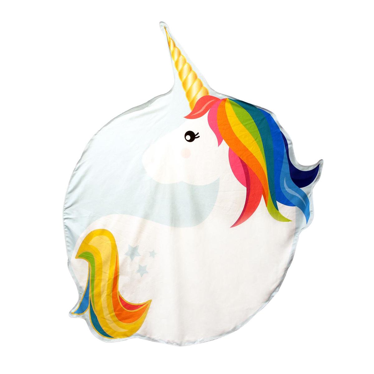 Serviette de plage créateur \'Licorne My Unicorn\' blanc multicolore - 150 cm - [Q1129]