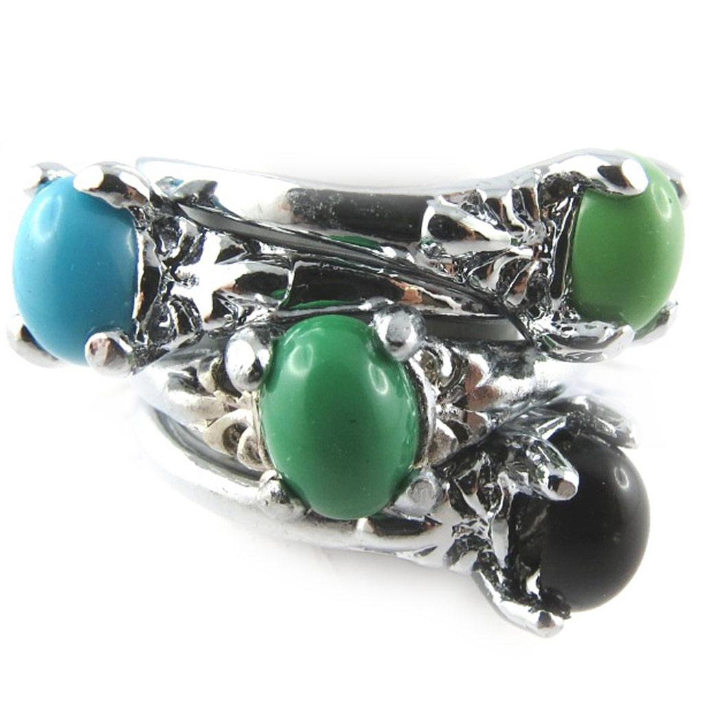 4 bagues \'Scarlett\' vert bleu noir - [K7379]