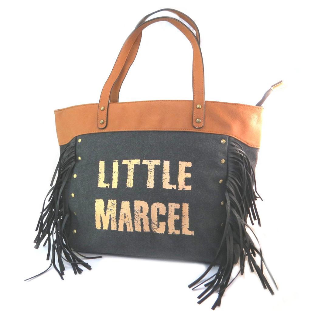 Sac créateur \'Little Marcel\' noir camel doré (franges) - 43x31x14 cm - [P3144]