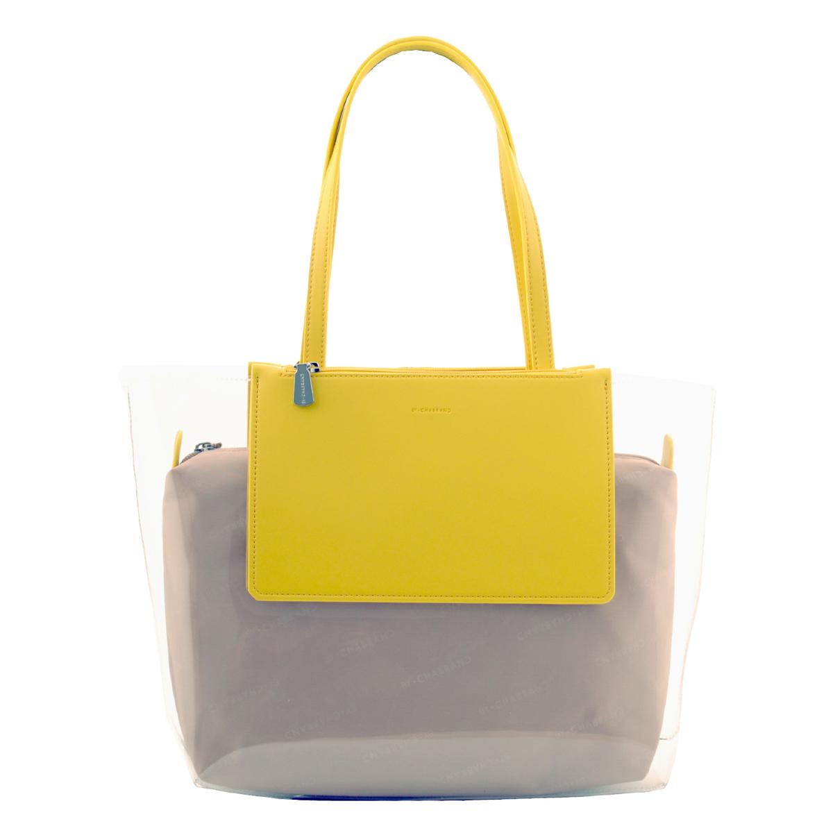 Sac créateur \'Chabrand\' transparent jaune - 42x29x12 cm - [R1651]