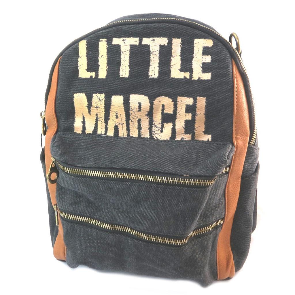 Sac à dos \'Little Marcel\' noir doré camel - 34x27x18 cm - [P3145]