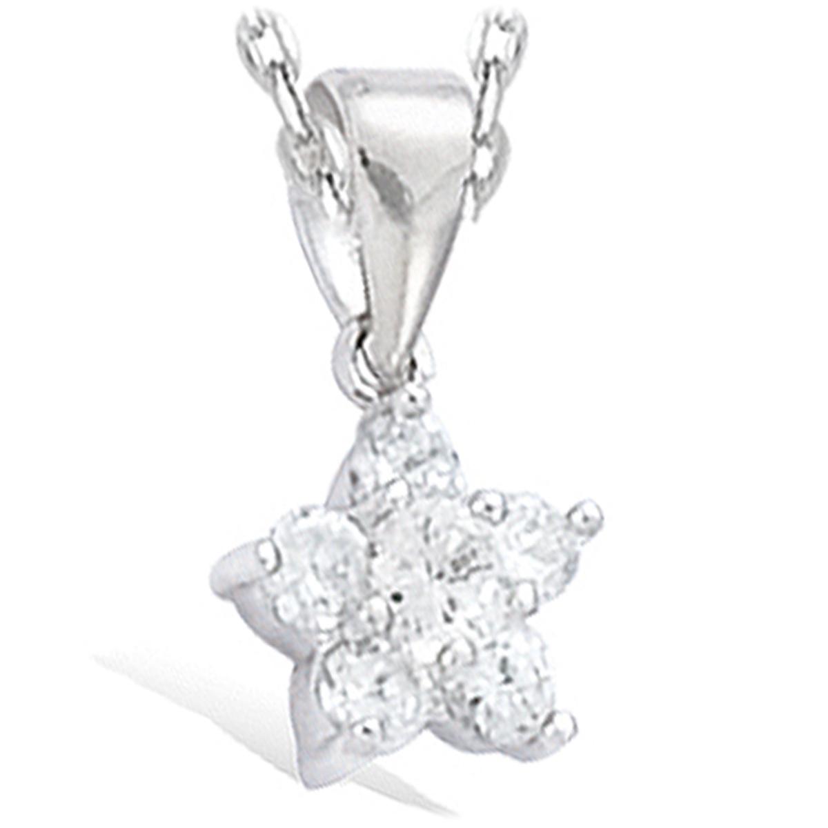Pendentif argent \'Fleur de Cristal\' blanc argenté (rhodié) - 9 mm - [I3987]