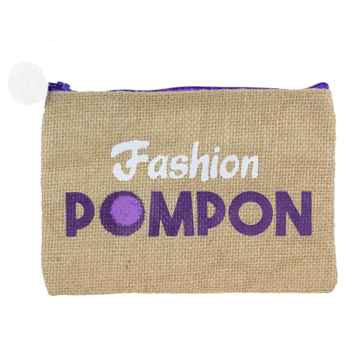 Trousse plate jute \'Fashion Pompon\' violet beige - 19x13 cm - [Q1186]