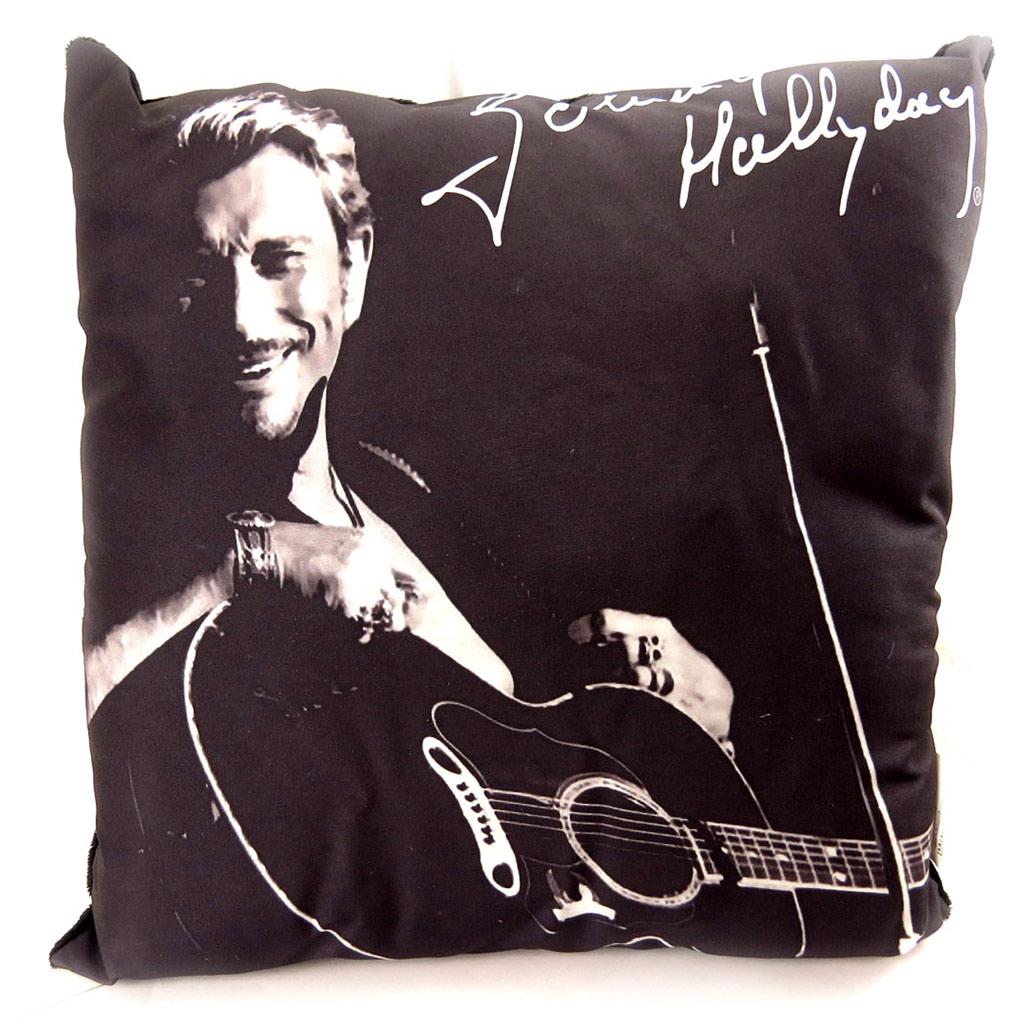Coussin déco \'Johnny Hallyday\' à la guitare - 32 cm - [L2211]