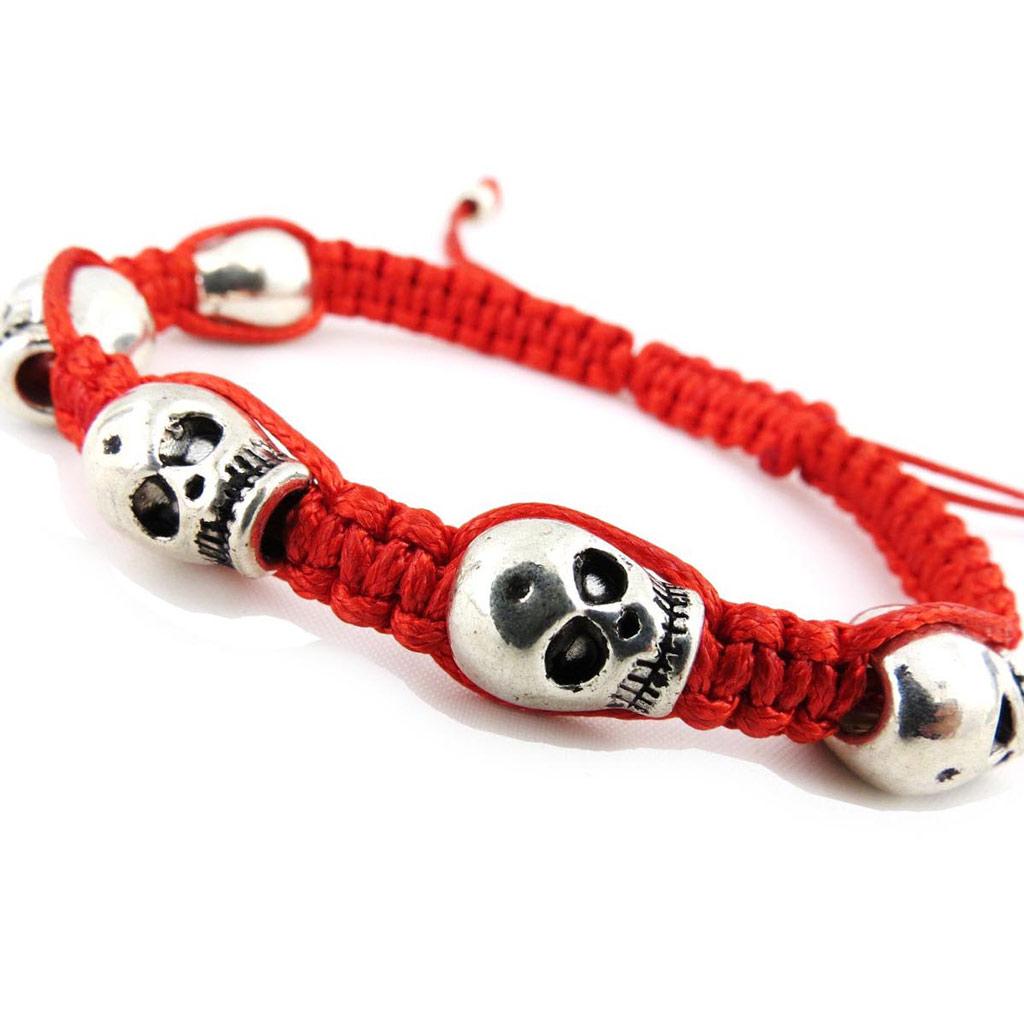 Bracelet créateur shambhala \'Tête de Mort\' acajou - [J3615]