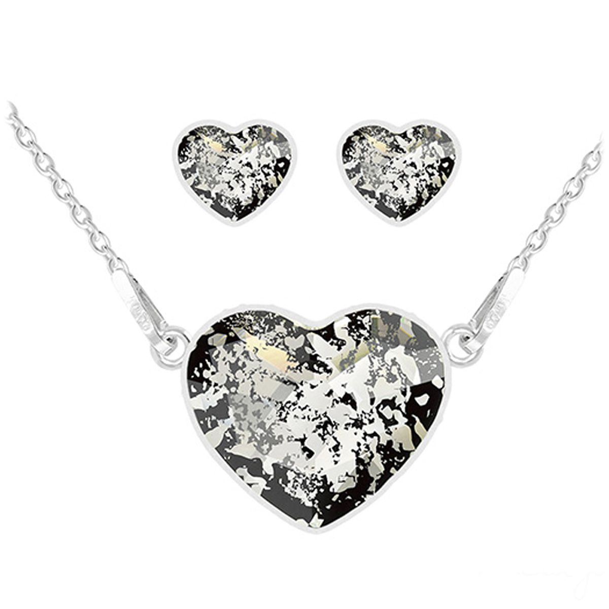 Parure argent artisanales \'Love\' noir patiné argenté (collier et boucles) - 15x13 mm - [Q4276]