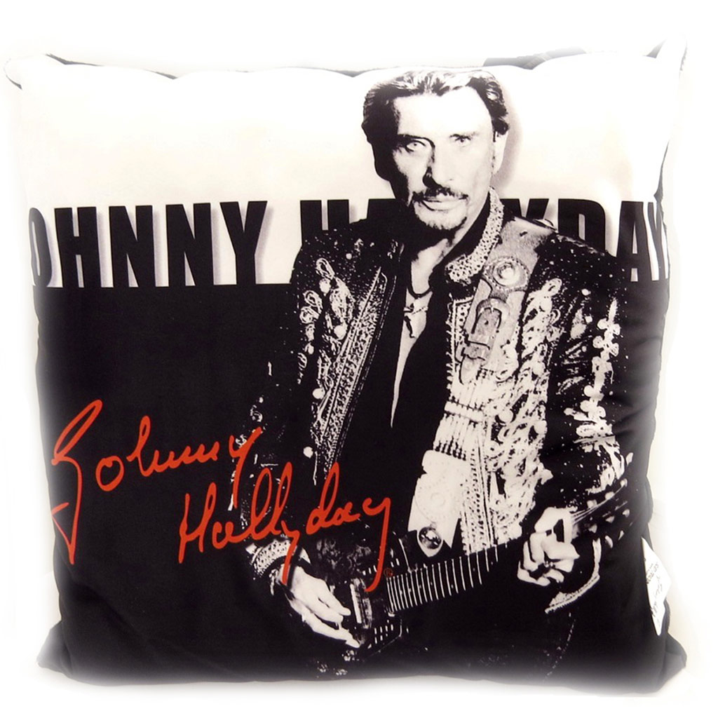 Coussin déco \'Johnny Hallyday\' à la guitare - 32 cm - [L2251]