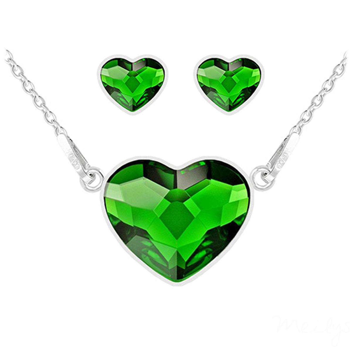 Parure argent artisanales \'Love\' vert argenté (collier et boucles) - 15x13 mm - [Q4279]