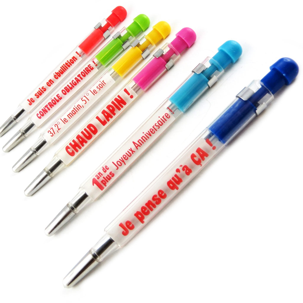 Set de 6 stylos \'Thermomètre\' tutti frutti - [L2296]