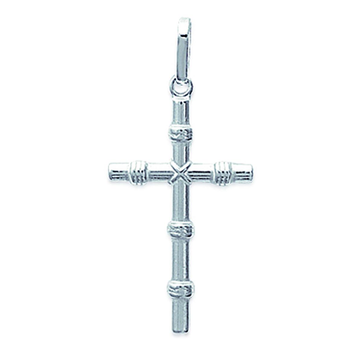 Pendentif Argent \'Croix\' argenté - 15x25 mm - [B9892]