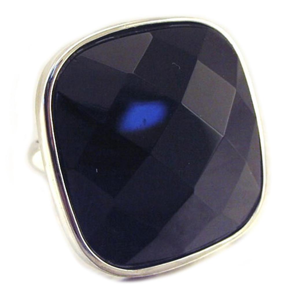 Bague Argent \'Linda\' Noir argenté (rhodié) - 25x25 mm - [E9211]