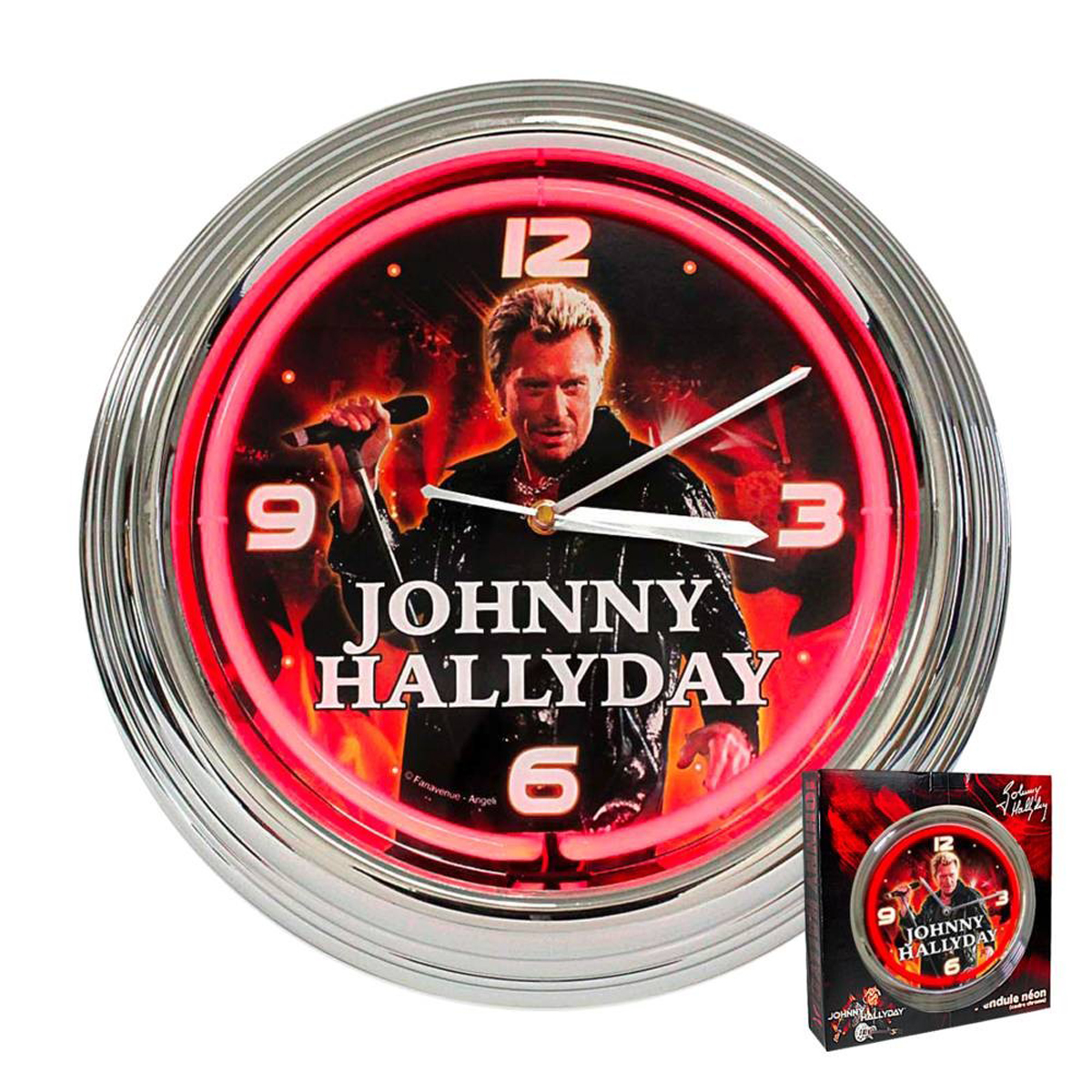 Horloge Murale Néon \'Johnny Hallyday\' au micro (rouge) - 37x7 cm - [H5969]