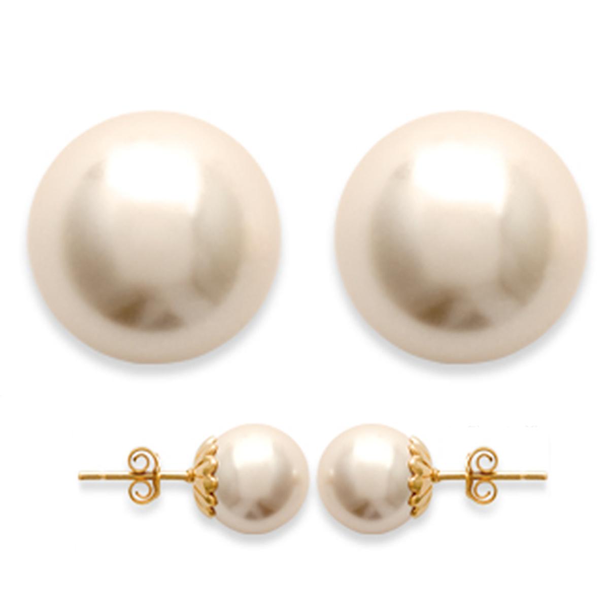 Boucles Plaqué Or \'Perles\' ivoire doré - 10 mm - [D6762]
