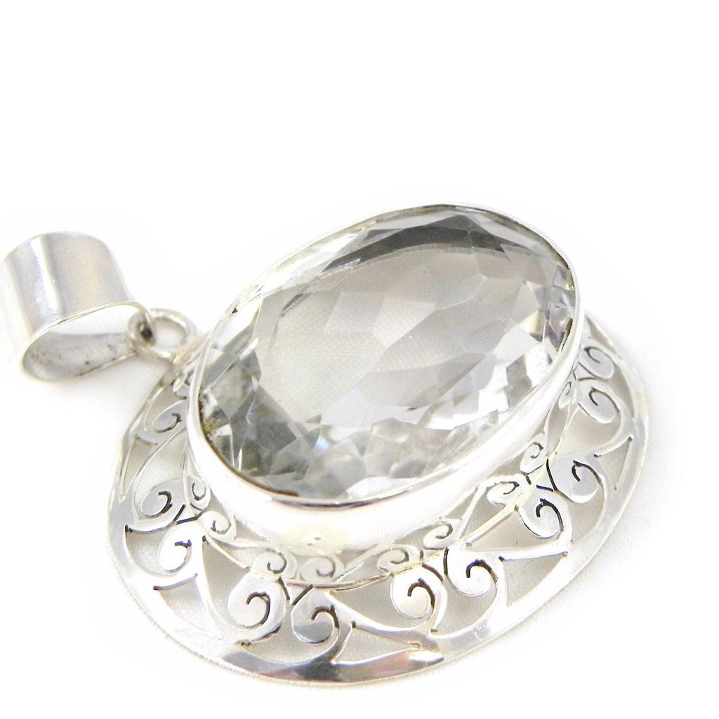 Pendentif Argent \'Colisée\' cristal blanc - [H0084]