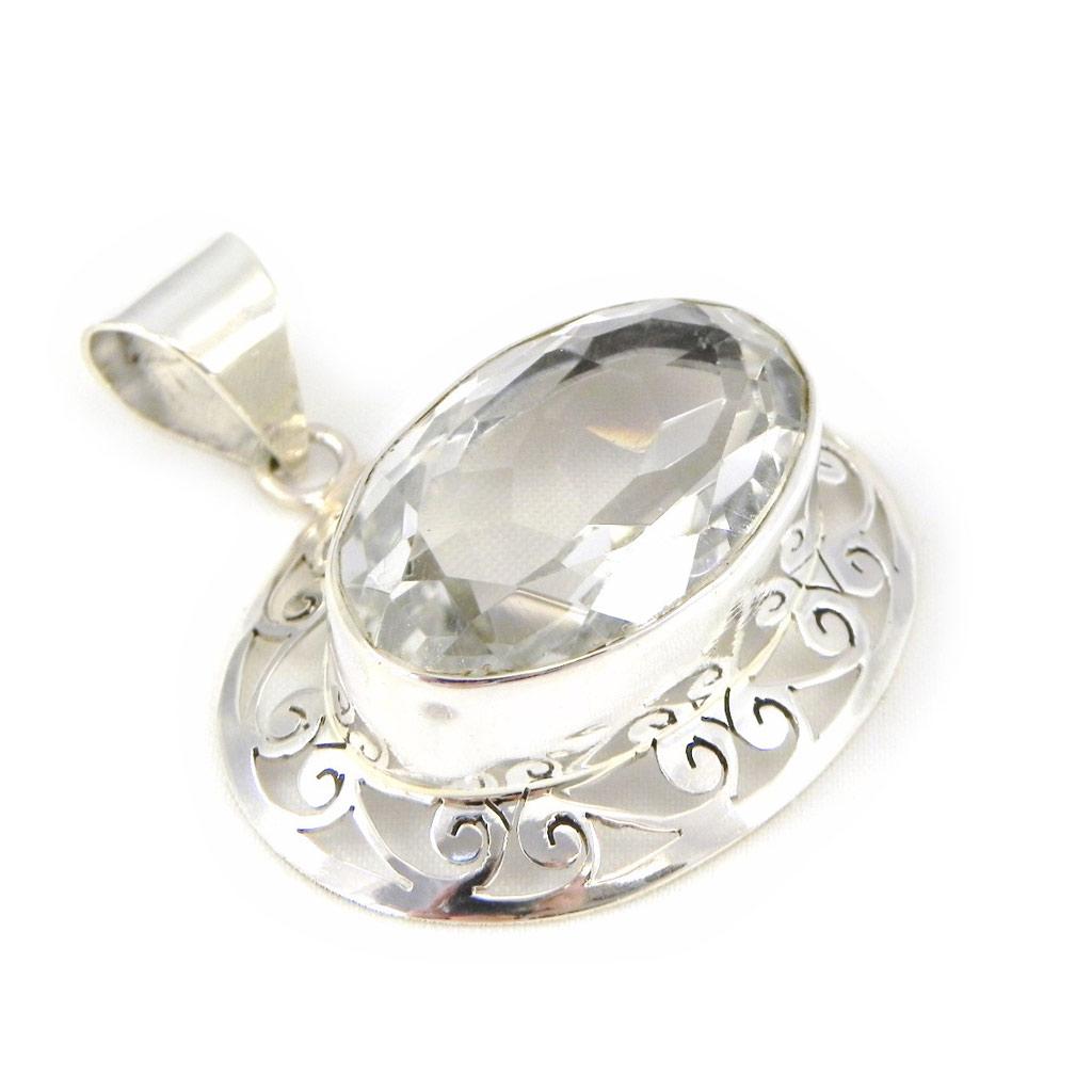Pendentif Argent \'Colisée\' cristal blanc - [H0085]