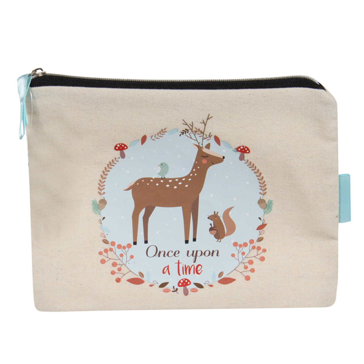 Pochette plate / Trousse à maquillage \'Once upon a time\' beige - 19x135 cm - [R0345]